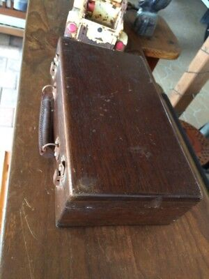 Antique Hardwood Case With Leather Handle. Inside Wooden Compartments.