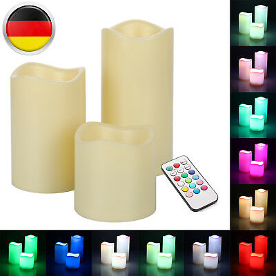 4 tlg led wachskerzen mit fernbedienung flammenlose cream wachs echtwachs kerzen eur 4 00. Black Bedroom Furniture Sets. Home Design Ideas