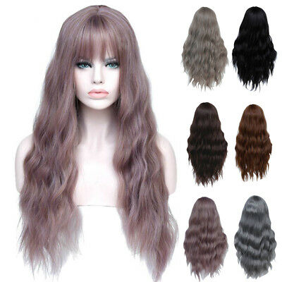Cosplay Long Womens Wig with Bangs Curly High Temperature Fiber Hair AU Reliable