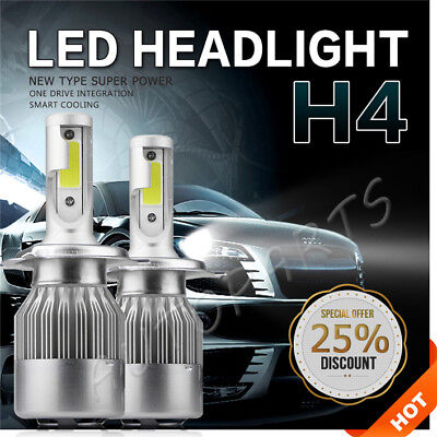 8800LM 72W Led Headlight DRL Bulbs H4 HB2 9003 6000K High/Low Beam 12V Headlamps