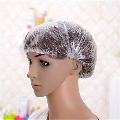 100 Pcs Disposable One-off Hotel Shower Bathing Clear Hair Elastic Caps Hats