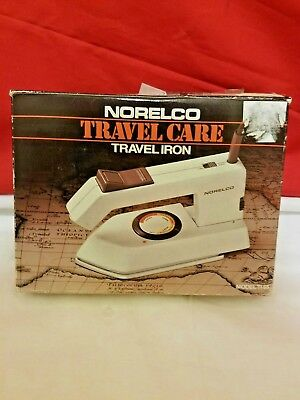 NORELCO TRAVEL CARE STEAM/DRY TRAVEL IRON W/SPRAY Model T165 VINTAGE IN Box