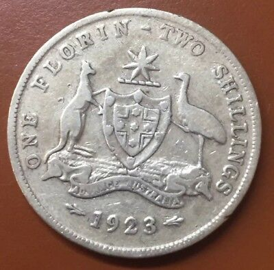"""1923 Australian """"Great Britain George V"""" Silver One Florin Two Shilling Coin TCC"""