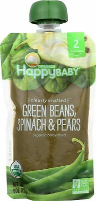 HAPPY BABY-GREEN BEANS, SPINACH AND PEARS BABY FOOD ( 24-4 OZ packets) exp 07/19