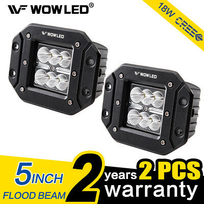 WOWLED 2X 18W LED Work light Bar Flood Beam Offroad Driving Cube Lamp Bar 4X4