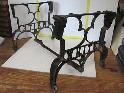 White Antique Cast Iron Coffee Side Table Legs Sewing Machine Base