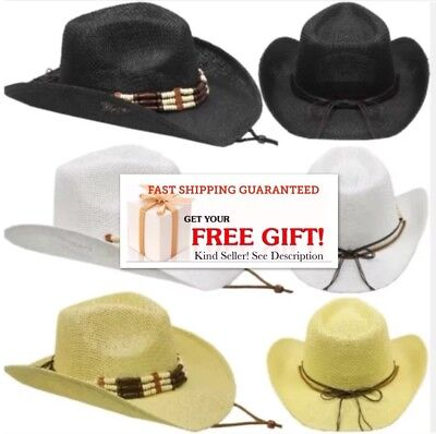 NEW HIGH QUALITY Cowboy HAT WESTERN WHITE BLACK BEIGE COWGIRL RODEO MEN WOMEN