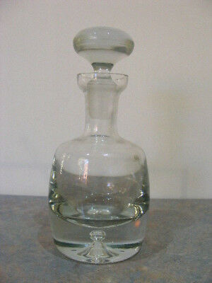 Retro Vintage Krosno Poland Heavy Based Glass Decanter With Sticker - VGC
