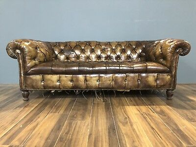 RARE - 19thC Circa 1860 Antique Chesterfield Sofa In Original Hand Dyed Leathers