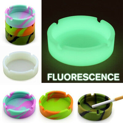 Portable Silicone Rubber Soft Round Camouflage Luminous Fluorescent Ashtray New