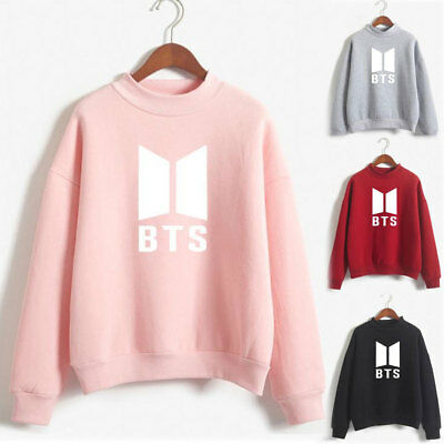 Womens BTS Hoodies Pullover Sweatshirt Casual Kpop Winter Clothes Fans Support
