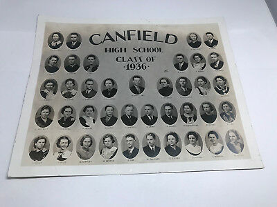 Vintage  Photo of CANFIELD OHIO High School Class of 1936  7.50 X 9.50