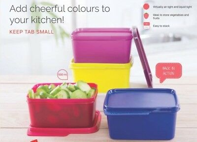 PACK OF 4 x TUPPERWARE SMALL VEGETABLE KEEPER/CONTAINER CAPACITY OF 500 ML EACH