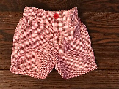 COUNTRY ROAD BABY BOYS SMART RED CHECK SHORTS - SIZE AGE 6 to 12 MONTHS or 0