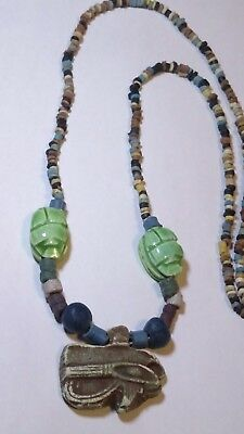 HORUS symbol of protection Egyptian Necklace Mummy Beads Hand Beaded Terracotta