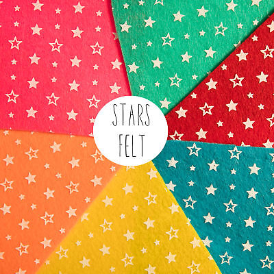 Star Patterned Acrylic Felt Sheet 30cm x 30cm, for craft and sewing