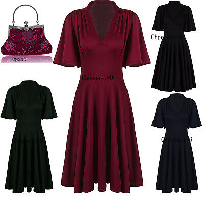 Ladies Vintage Style Retro 1940s 50's Rockabilly Evening Swing Skaters Tea Dress