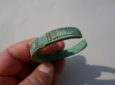 ancient Norse Viking bronze bracelet, with beautiful carved decoration