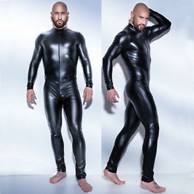 Stretch 4-Way Black Wet PVC Look Jumpsuit Catsuit Party Halloween Superhero