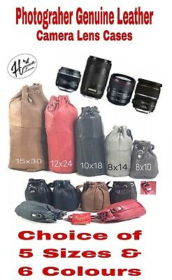 Real Leather Drawstring Pouch Photography Camera Lens Case Storage