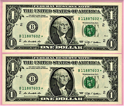 USA, 2009, 2 x One Dollar STAR Banknotes (Replacement), Choice UNC