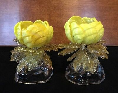 Pair Of Vintage Czech Art Glass Murano Slag Glass Flower Boquet Candle Holders