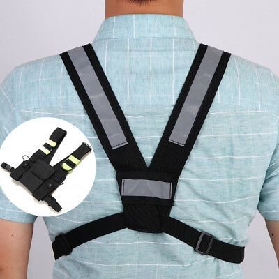 Fluorescent Green Belt Front Chest Pack Carry Case for 2 Way UV-5R Walkie Talkie