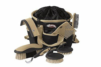 Horse Grooming Kit Tote Set Equine Stable Care Comb Brush Beginner Pony Bag 7Pc