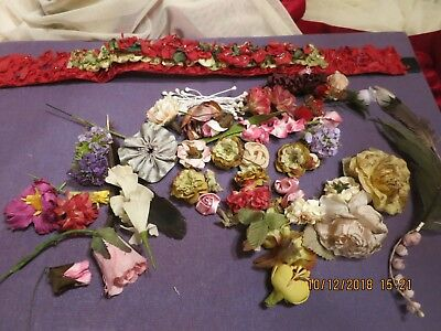 Vintage Flower Paper Cloth Stamen- Holiday Pet ,doll Collar Feather+  Lot 63