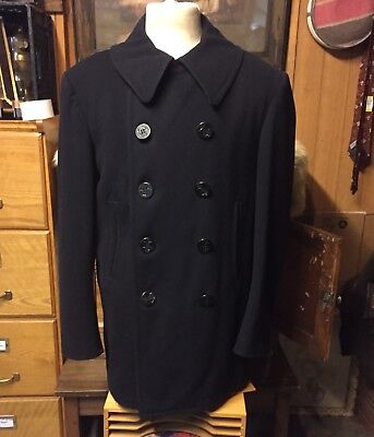 WWII US NAVY Peacoat L 12 Button Corduroy Pockets Military USN VINTAGE