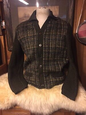 Vintage 1950s Mr Rogers Sweater Mohair Wool Hirteuloden Mens L Button Cardigan