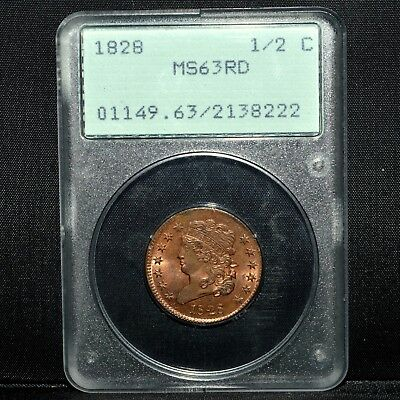 1828 Classic Head Half Cent ✪ Pcgs Ms-63-Rd ✪ 1/2C 13 Stars Red Rattler◢Trusted◣