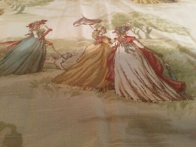 2 Pair GORGEOUS Victorian Scenes  LINED Pocket  CURTAINS Bark Style