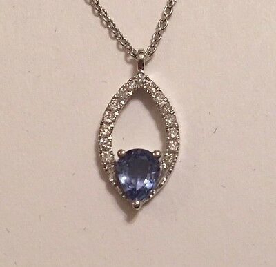 14K White Gold Blue Sapphire & Diamond Marquise Pendant Necklace With Chain