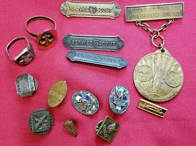 Vintage Eagle Boy Scout Sterling Silver Pins, Ring, Service Air Treasury Award