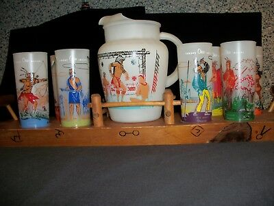 Ohio Indian Glasses, Pitcher And Tray