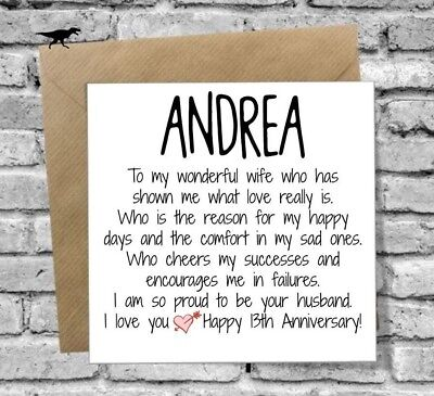 PERSONALISED WIFE HAPPY Anniversary Card Love 1St 2Nd 5Th 10Th 20Th 25Th  30Th