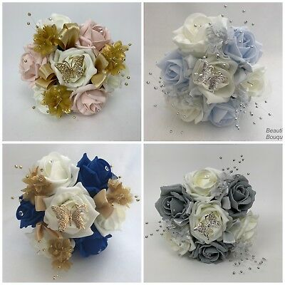 wedding bouquets butterfly flowers roses bride bridesmaid flower girl wand posy