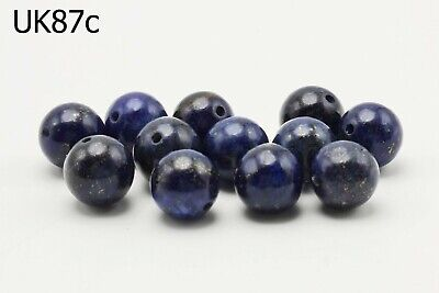 Lot 12 Ancient Style Lapis w/ Pyrite Carved Egyptian Ball Beads #UK87