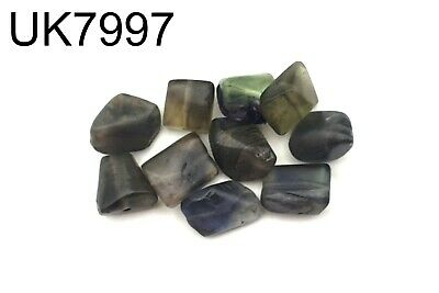 Lot 10 Vintage Middle Eastern Green Fluorite Crystal Healing Quartz Bead #7997