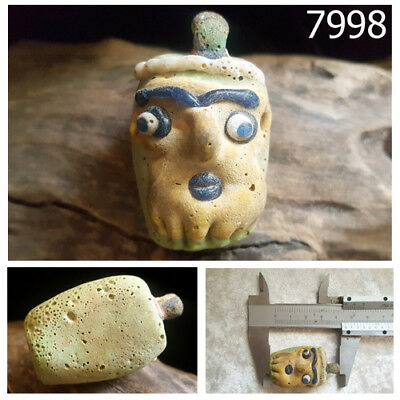 Phoenician Yellow Mask Face Head w/Blue Eye Mosaic Glass Bead Pendant #7998