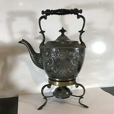 Antique Pewter Spirit Kettle with Oil Wick Burner . Engraved 1914 Beautiful