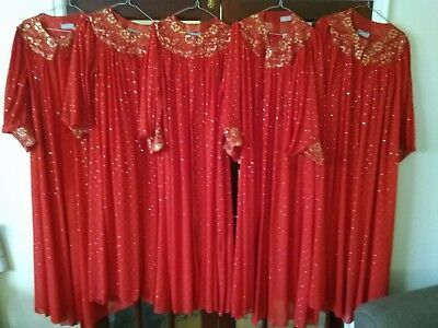 Joblot of Theatre Gowns / Costumes x 5 Red wth Gold Coloured Sequins