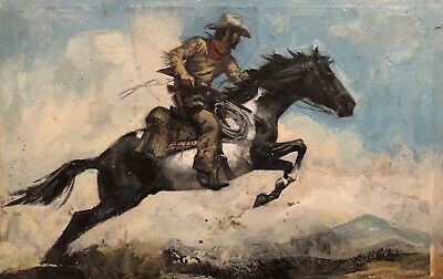 Cowboy on Horse Original Painting by Jerome Podwil