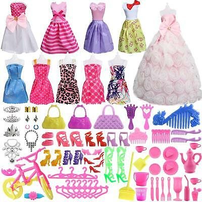85Pcs Clothes Set for Barbie Dolls Incl Party Outfits Accessories gift for Girls
