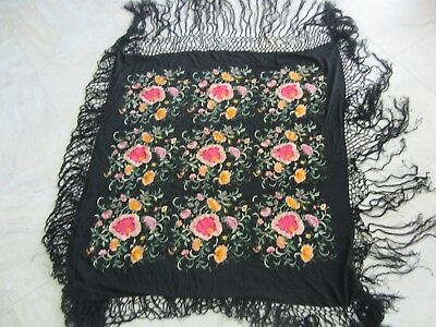 Antique Black Silk Floral Embroidered Piano Shawl