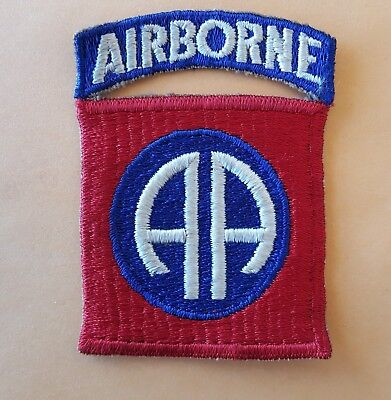 WWII 82nd Airborne Patch with Attached Tab - Rib Weave Variation