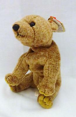 "1999 Ty BEANIE BABIES ORIGINAL Brown PECAN 7.5"" Soft Plush Sitting Bear  w/ Tag"
