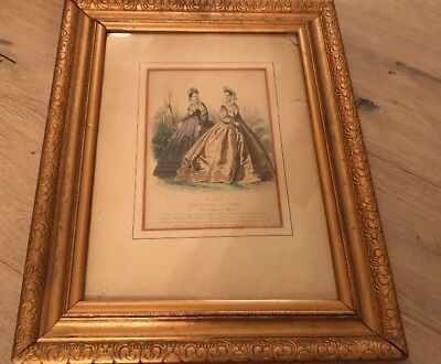 Antique Victorian Large French Lithograph Paris Matted And Wooden Framed Picture