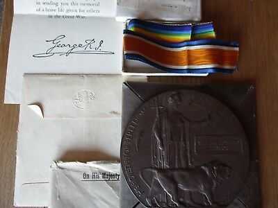 WW1 Memorial Plaque In Original Packaging & Medal Box, Ribbons